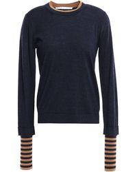 Veronica Beard Avory Layered Merino Wool-blend Sweater Navy - Blue