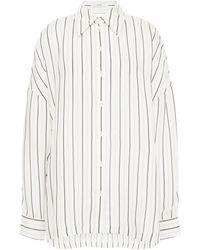 Tibi Oversized Striped Twill Shirt Ivory - White