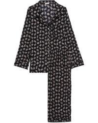 Eberjey Floral-print Stretch-silk Jersey Pyjamas Black