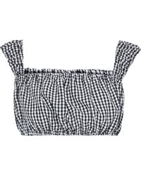 Solid & Striped Cropped Gingham Woven Top - Black