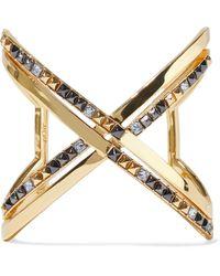 Noir Jewelry 14-karat Gold-plated Crystal Cuff Gold - Metallic
