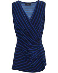 DKNY - Wrap-effect Striped Jersey Top Midnight Blue - Lyst