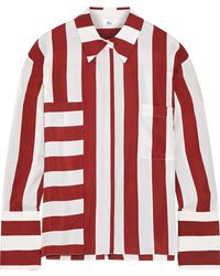 Iris & Ink - Valentina Striped Washed-silk Shirt Brick - Lyst