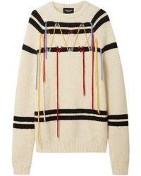 CALVIN KLEIN 205W39NYC Crewneck Floating Yarn Striped Wool Knit Sweater - White