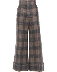 Brunello Cucinelli Sequin-embellished Checked Linen-blend Wide-leg Trousers Charcoal - Gray