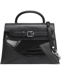 Alexander Wang - Suede-paneled Croc-effect, Textured And Smooth Leather Shoulder Bag - Lyst