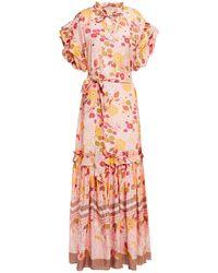 byTiMo Belted Ruffled Floral-print Satin-jacquard Maxi Dress - Pink