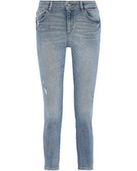 DL1961 Florence Cropped Distressed Low-rise Skinny Jeans Mid Denim - Blue
