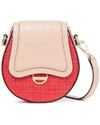 Emilio Pucci Dora Mini Printed Leather And Faux Raffia Shoulder Bag - Red