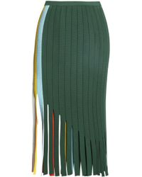 Marco De Vincenzo - Fringed Open Knit-trimmed Stretch-knit Midi Skirt - Lyst