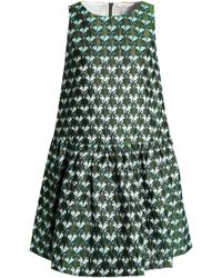 Maje - Embroidered Jacquard Mini Dress Army Green - Lyst