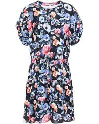 Rebecca Minkoff Ruched Floral-print Woven Mini Dress Black