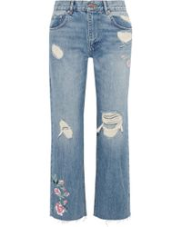 Anine Bing Embroidered Distressed High-rise Straight-leg Jeans Light Denim - Blue