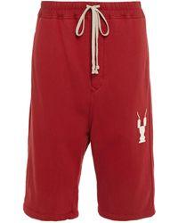 Rick Owens Drkshdw Printed Cotton-fleece Shorts Claret - Red