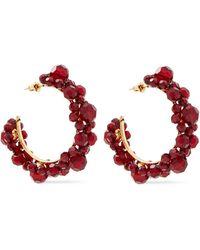 Simone Rocha Gold-tone Crystal Hoop Earrings - Red
