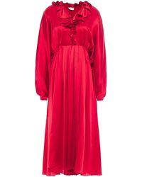 Magda Butrym Ancona Ruffled Silk-satin Midi Dress - Rot
