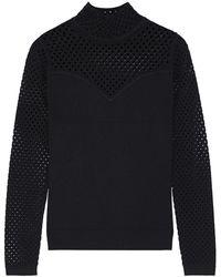 Diane von Furstenberg Open Knit-paneled Stretch-knit Turtleneck Sweater - Black