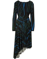 Preen By Thornton Bregazzi Melissa Asymmetric Striped Stretch-crepe Dress - Black