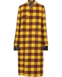 Rick Owens Double-breasted Layered Alpaca And Wool-blend Coat Saffron - Yellow