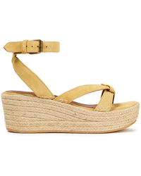 Ba&sh Candella Knotted Suede Espadrille Wedge Sandals Pastel Yellow - Multicolour