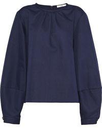 Tibi - Woman Cotton And Linen-blend Blouse Navy - Lyst