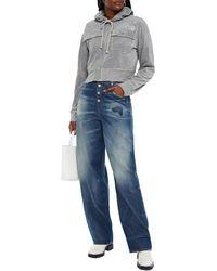 MM6 by Maison Martin Margiela Distressed High-rise Straight-leg Jeans Mid Denim - Blue