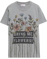 RED Valentino Printed Cotton-jersey T-shirt - Grey