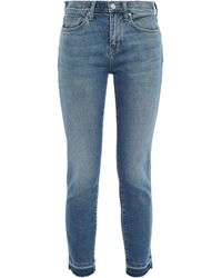 Current/Elliott The Stiletto Cropped Distressed Mid-rise Skinny Jeans Mid Denim - Blue