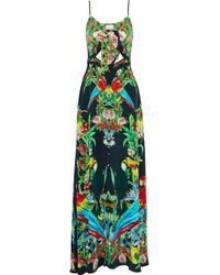 Camilla - Toucan Play The Front Crystal-embellished Knotted Printed Silk Maxi Dress - Lyst