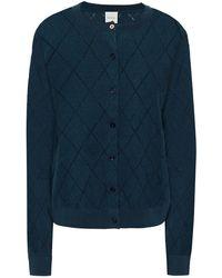 Paul Smith Pointelle-knit Organic Cotton Cardigan Storm Blue