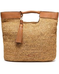 Michael Kors Leather-trimmed Woven Raffia Tote Beige - Natural