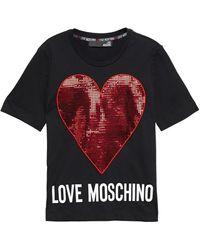Love Moschino Appliquéd Printed Cotton-jersey T-shirt - Black