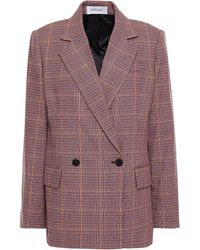 10 Crosby Derek Lam Double-breasted Sequin-embellished Prince Of Wales Checked Woven Blazer - Purple