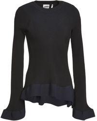 Hervé Léger Hervé Léger Two-tone Ribbed-knit Jumper Midnight Blue