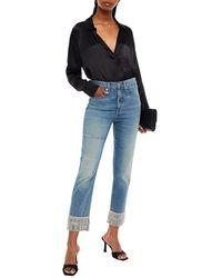 Veronica Beard Cropped Embellished High-rise Slim-leg Jeans - Blue
