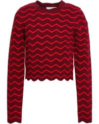 MILLY Scalloped Knitted Top Merlot - Red