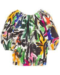 Marni Pleated Printed Cotton-poplin Top - Multicolour
