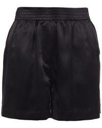 Reformation Bleecker Silk-satin Shorts - Black