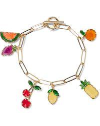 Noir Jewelry 14-karat Gold-plated, Crystal And Stone Bracelet Gold - Metallic