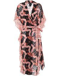 Anna Sui Ruffled Printed Fil Coupé Silk-chiffon Kimono Black