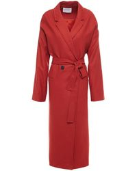 American Vintage Double-breasted Brushed Wool-blend Felt Coat - Red