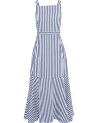 Tibi Fluted Cutout Striped Twill Midi Dress Blue