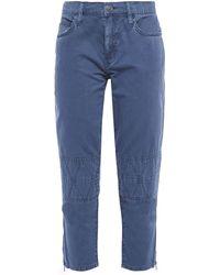 Current/Elliott The Debbie Cropped Cotton-twill Slim-leg Trousers - Blue