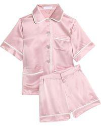 Olivia Von Halle - Millicent Silk-satin Pyjama Set Baby Pink - Lyst