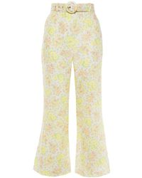 Zimmermann Belted Floral-print Linen Flared Trousers Yellow