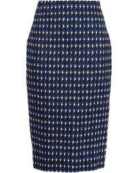 Victoria Beckham Houndstooth Cotton-blend Jacquard Pencil Skirt - Black