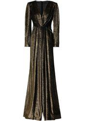 Alberta Ferretti Wrap-effect Devoré-velvet Gown - Multicolour