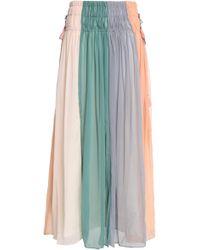 Antik Batik - Pleated Color-block Crinkled Georgette Maxi Skirt - Lyst