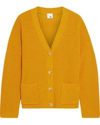 Iris & Ink Bluebell Ribbed Merino Wool-blend Cardigan - Yellow