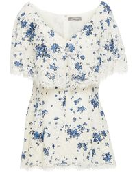 Lela Rose Printed Corded Lace Top - White